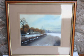 Vintage Landscape Painting by Bristol Artist Mary Shaw Framed Winter Art Picture