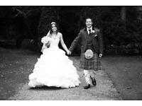 White Tom Flowers Romance designer wedding dress, size 10