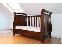 Boori English oak sleigh cot bed and mattress