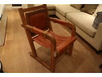 Wooden chair leather seating