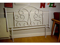 Wrought Iron Effect White Metal Headboard to fit kingsize bed