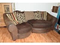 large brown comfortable sofa. suede effect.