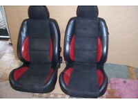 black leather and cloth seats