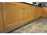 Kitchen cupboards with solid wood doors - good condition