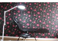 Beauty salon, massage, tattoo facial therapy chair, bed; stool and magnifying lamp