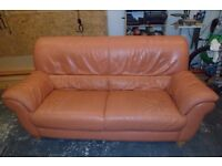 Free leather 3 seater sofa terracotta in colour