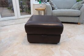 Brown Leather Footstool from Furniture Village