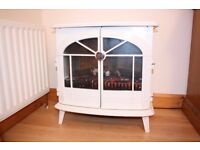 Electric Fire / Stove heater, white gloss finish, remote control operated