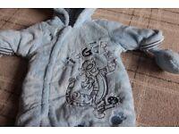Blue Tigger snow suit with detachable gloves, newborn size, Disney