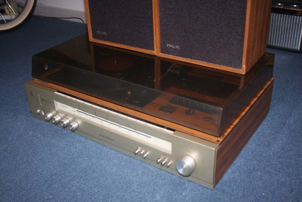 Vintage Philips AH998/35 stereo receiver with matching speakers