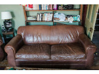 Beautiful Restoration Hardware distressed leather French Club suite.