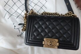 Chanel Boy Grained Leather Crossbody bag with antique gold chain