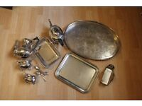 Nine antique silver plated items for tableware for the kitchen and dining room