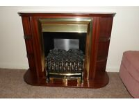 Free standing Electric coal effect fire with shelf surround