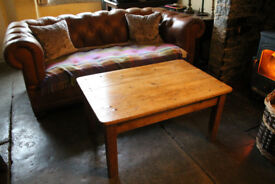 Coffee table made from characterful reclaimed pine with natural wax finish