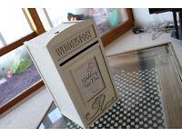 Stunning white wedding post box