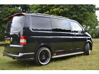 T5 TRANSPORTER VOLKSWAGON , 59 PLATE BLACK WITH BURGUNDY INTERIOR