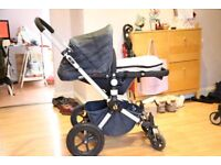 Bugaboo Cameleon Denim Navy with footmuff and accessories (new set of fabric included)
