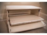 Shabby chic TV unit on wheels with roll out shelf VINTAGE REDUCED TO SELL