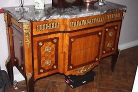ANTIQUE ROCOCO STYLE LARGE MIRROR AND MARQUETRY CHEST OF DRAWERS