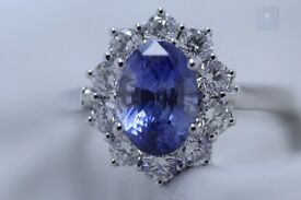 New 18ct WG 2.10ct Unheated Sapphire and Diamond Cluster Ring +Certificate