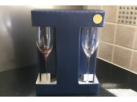 John Lewis Snowshill Gold Spiral Crystal Flute Glasses, 6x200ml, Brand New & Boxed