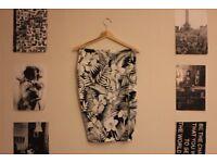 Navy Tropical Flower Print Pencil Skirt - beautiful dark navy, silky material
