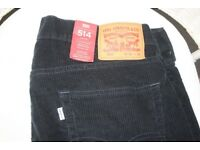 Levi 514 navy corduroy men's trousers - brand new with tags