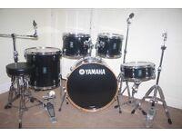 "Yamaha Rydeen Black 5 Piece Complete Drum Kit (22"" Bass) All Stands + Stool + Cymbal Set"
