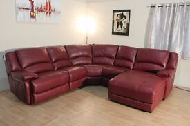 Ex-display Ronson deep red leather electric recliner corner chaise sofa