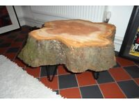 Log Coffee table wood side bedside table indoor outdoor Cherry Hairpin Legs