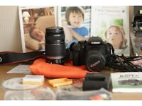 Canon 550D with all accessories, 18-55 and 55-250mm 2 x lenses