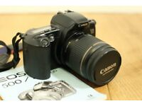 CANON EOS 500 black SLR for 35mm film and Canon 28-80mm f3.5-5.6 lens