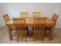 Solid Oak Extendable Dining Table with 6 Chairs - Oak Furniture Land