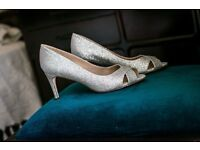 Silver glitter mid heel shoes size 5