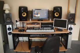 Music production studio desk