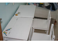 White wooden desk with chair for child age 4-7