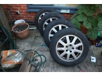 """ORIGINAL FORD MONDEO MK3 16"""" 9 SPOKE ALLOY WHEEL SET x 4 2001 - 2007, With tyres,"""