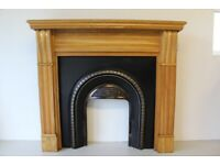 "54"" Solid Oak Corbel fireplace surround & cast iron insert, used for sale  Doagh, County Antrim"