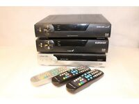 3x Eurovox cable Freeview Boxes W/ Remote Controls