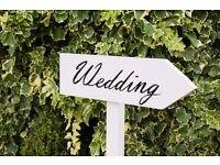 Wedding Sign Decoration Custom made w/Metal Planter Bucket