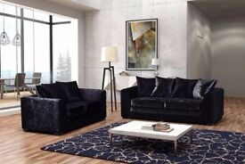 GUARANTEED CHEAPEST PRICE - DYLAN CRUSH VELVET CORNER / 3+2 SOFA SET -AVAILABLE SILVER AND BLACK