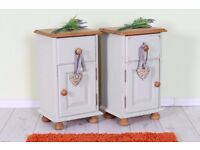 2 SOLID PINE BEDSIDE TABLES PAINTED LIGHT GREEN QUALITY MADE - CAN COURIER