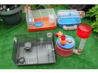 3 Large Hamster Cages & tubes, accesories etc...