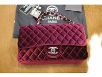 Chanel velvet classic bag medium size / bordo