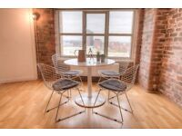 BRAND NEW Bertoia-inspired chrome wire dining chairs - retro, cool, classic design
