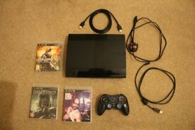 PS3 super slim 500gb 1 ORB controller + 3 games