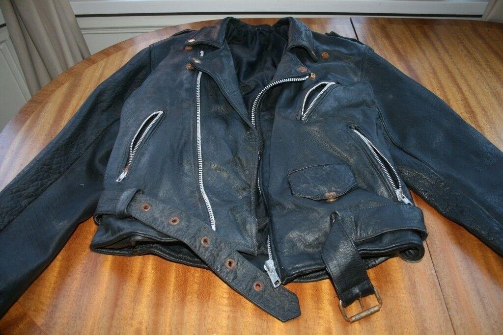 Old Vintage Real Leather Biker Jacket Size Medium M