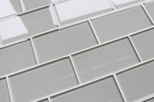 Country cottage light taupe 3x6 glass subway tiles for for Country cottage floor tiles