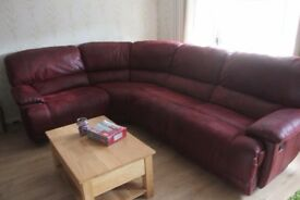 Harveys Guvnor Large Corner Sofa with recliners in red, only months old good condition